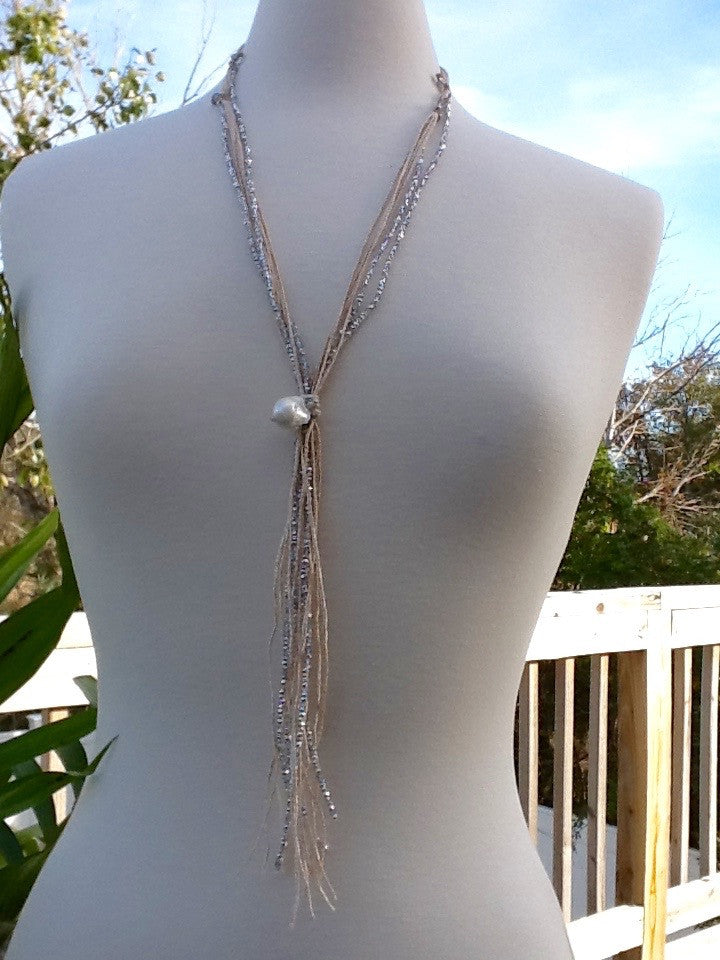 Champagne Silk Cord with Silver Crystals - Faux Lariat