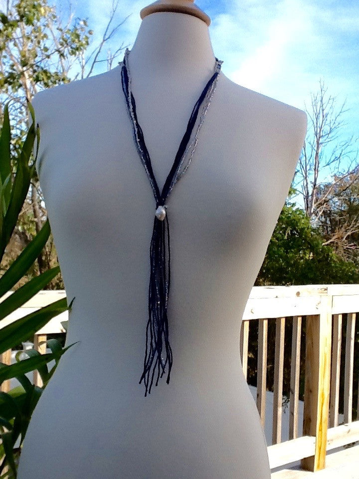 Navy Silk Cord with Silver Crystals - Faux Lariat