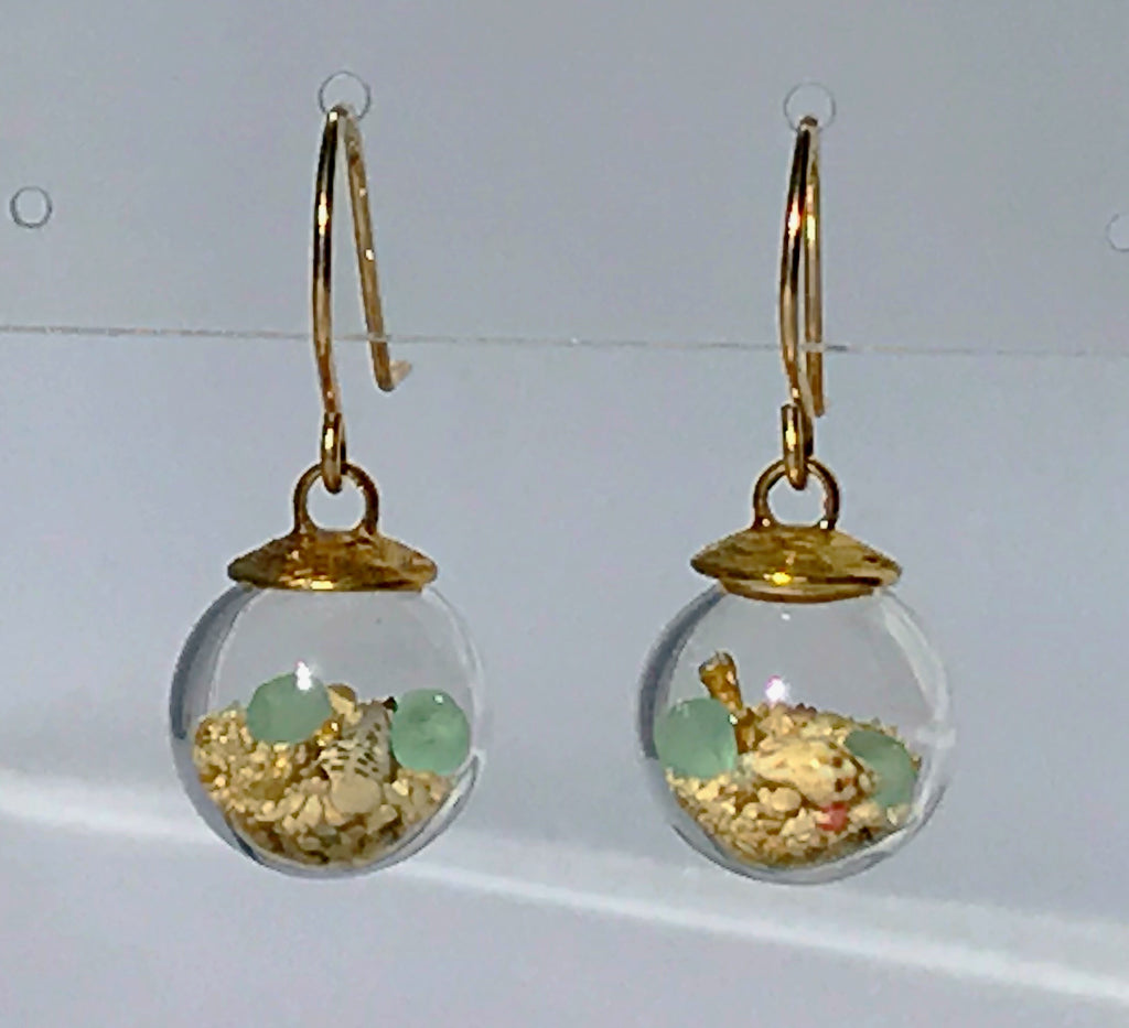 Globe earrings with aquarium by Catherine Weitzman