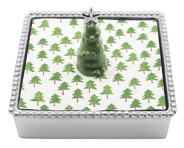Green Tree Beaded Napkin Box