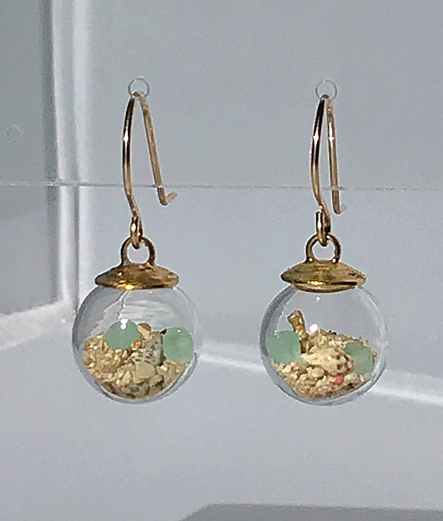 Globe earrings with beach and sand aquarium by Catherine Weitzman