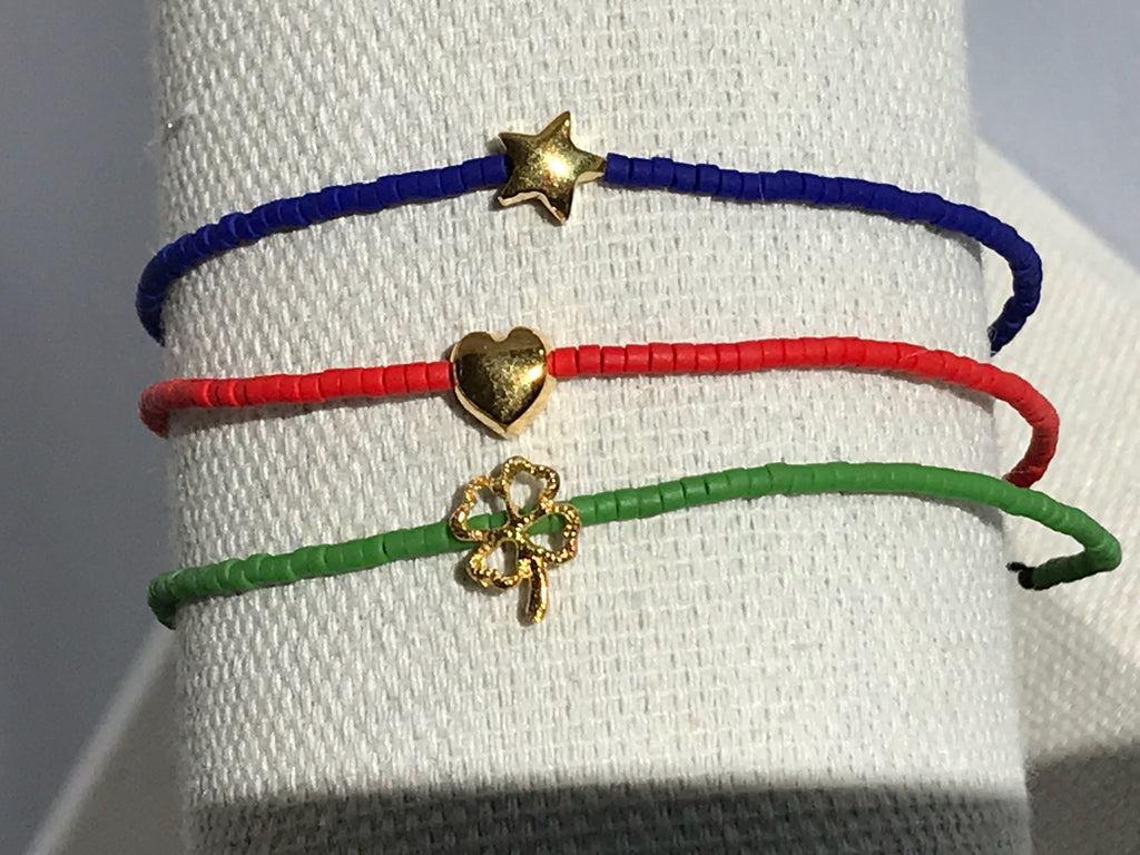 mini beaded bracelets with gold charm