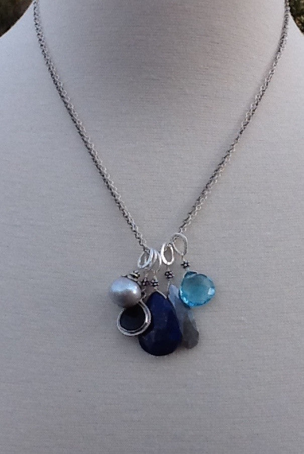 Double Chain Necklace with Blues Charms