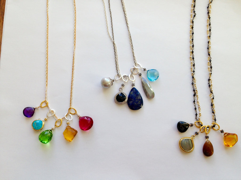Double Chain Necklace with Rainbow Charms