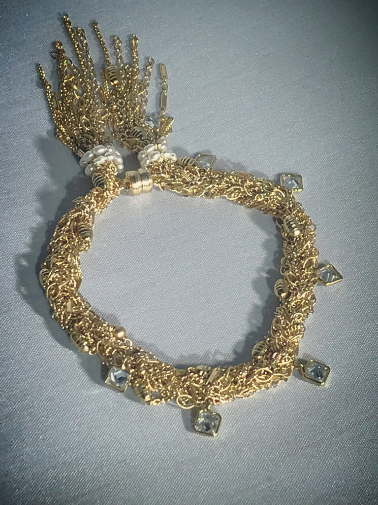Gold and crystal fringe bracelet by Mabel Chong