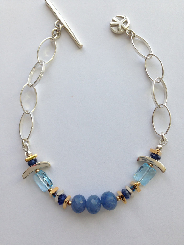 Denim Blue Quartz Silver Bracelet