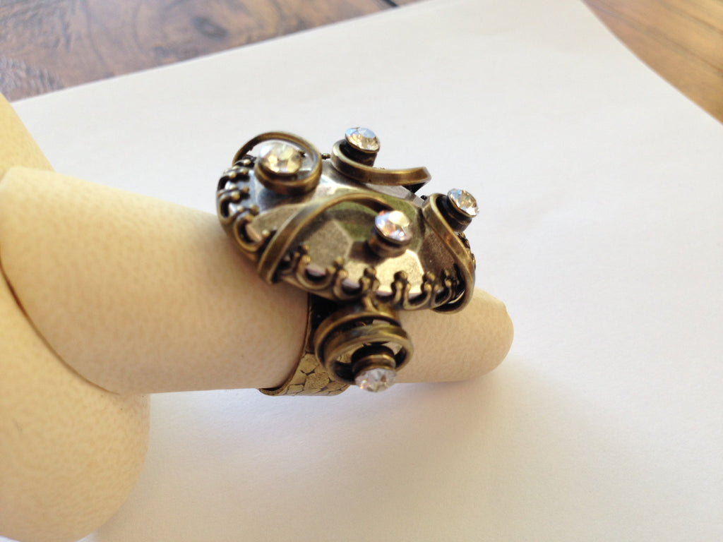 Dragon Shield Ring with Antique Silver & Antique brass