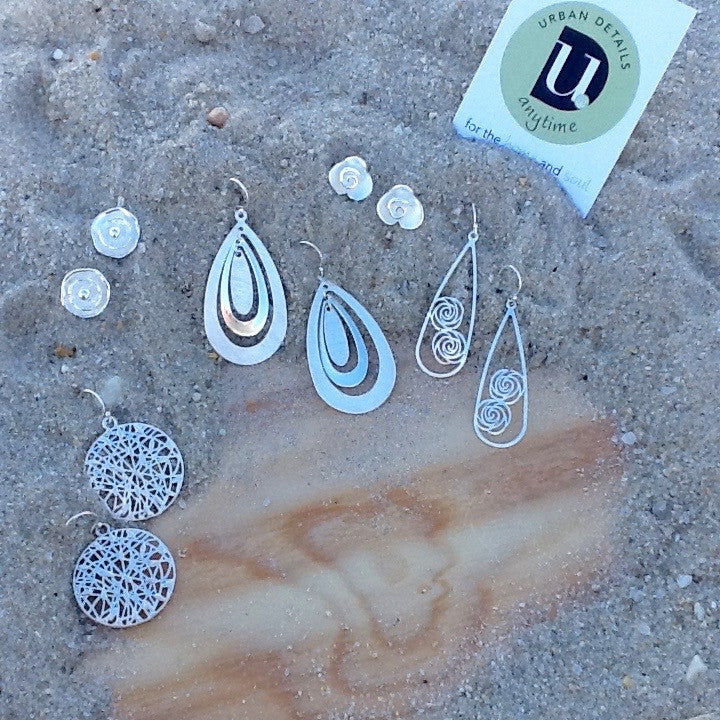 Teardrop Earrings - Matte and Polished Silver