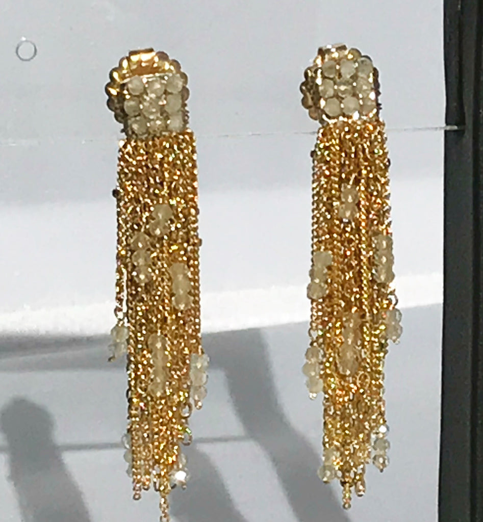 Crystal and tassel earring by Mabel Chong