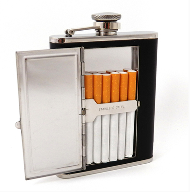Leather Flask with Cigarette Compartment