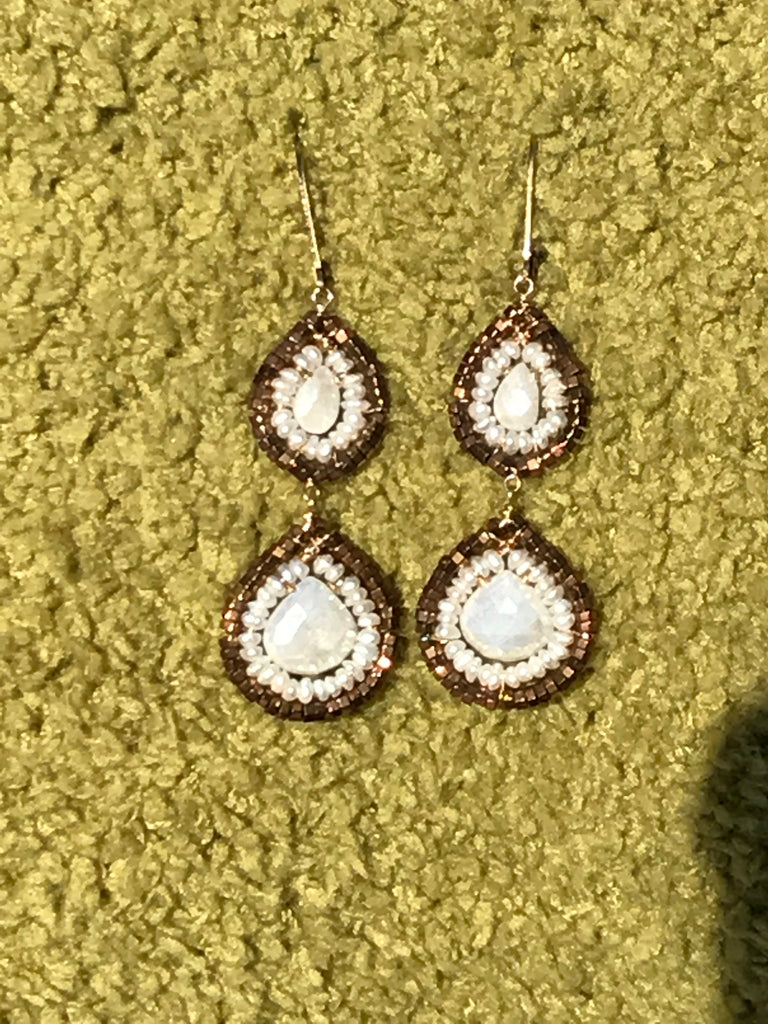 Bronze & White Sapphire Earrings