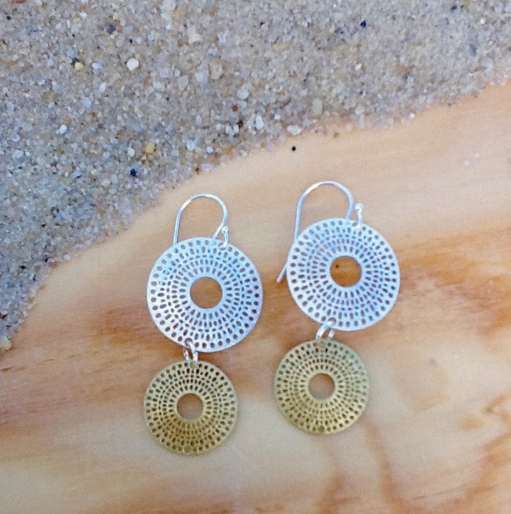 Two Tone Double Circle Earring