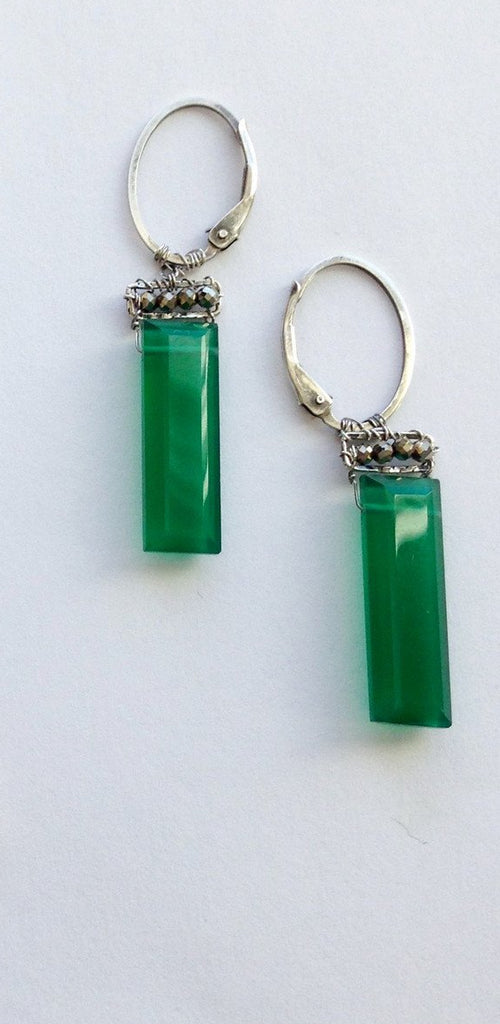 Green Onyx and Pyrite Earrings in Silver