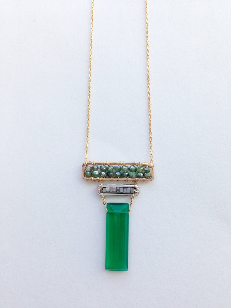 Green Onyx, Silver Hematite and Green Silverite Necklace in Gold