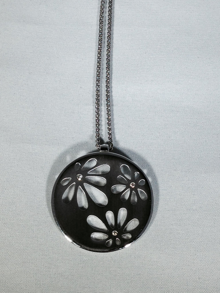 Diamond Pendant with Flower Cut Outs