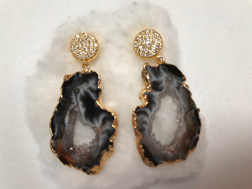 Agate earrings with gold & cz post