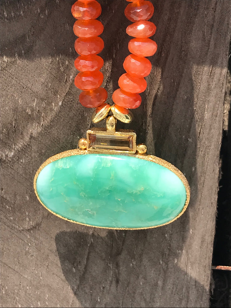 Carnelian Chryosphrase Citrine Necklace by Vasant Fine Jewelry Designs