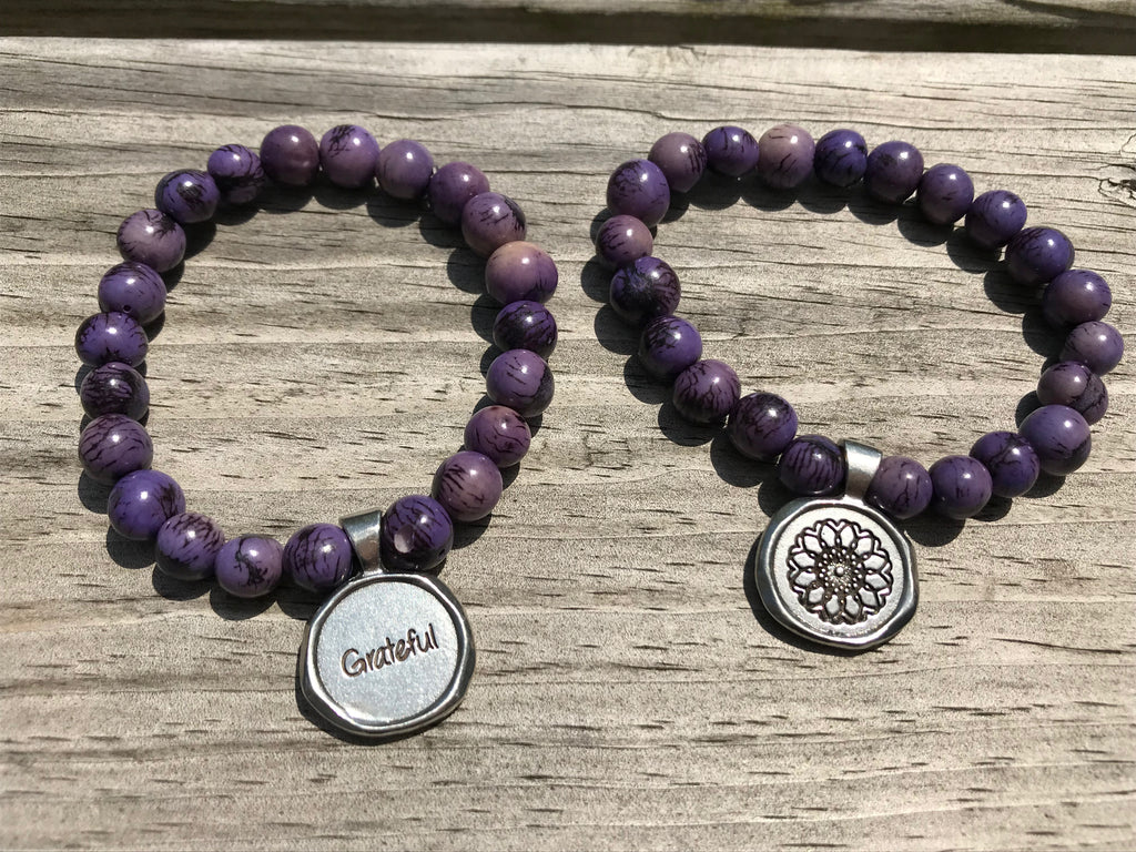 Grateful acai seeds of life bracelet