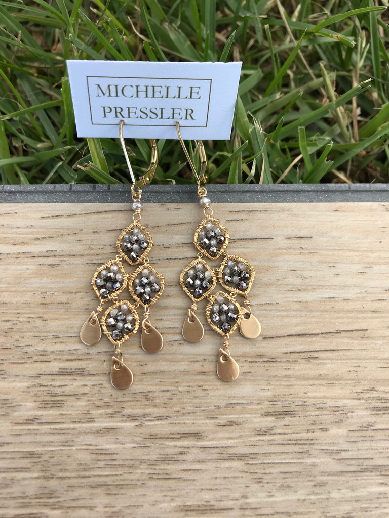 Natural Zircon and pyrite earrings by Michelle Pressler