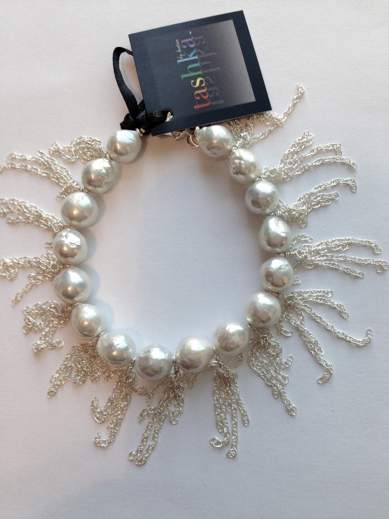 Akoya Cultured White Pearls with Sterling Silver Fringe - Bracelet