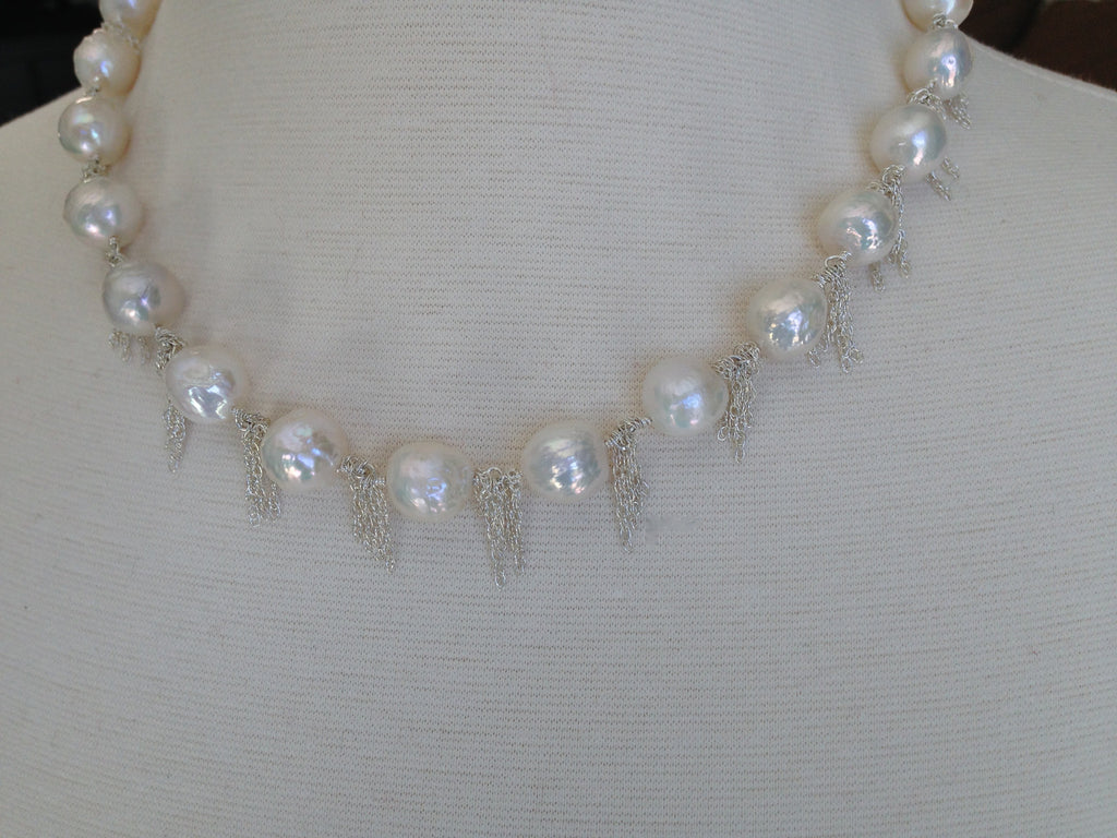 Akoya Cultured White Pearls with Sterling Silver Fringe - Necklace