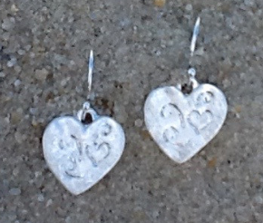 Silver etched heart earrings