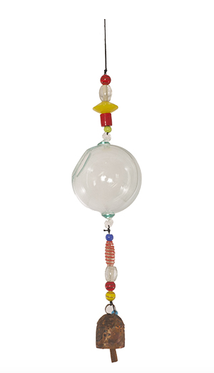 Glass bird feeder with beads and bell