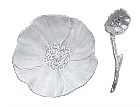 Poppy flower canape dish with spoon by mariposa