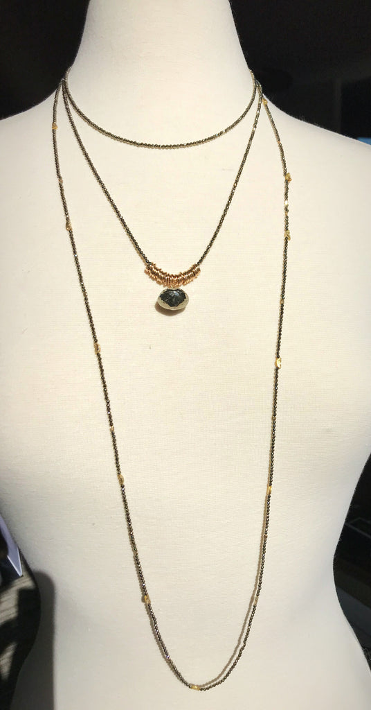 Pyrite Drop Long Necklace