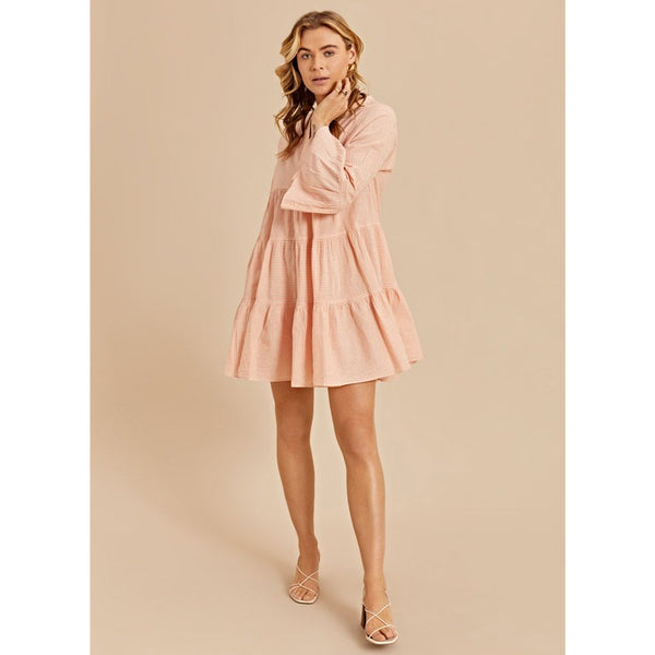 Devotion Ella Stripe Dress Salmon