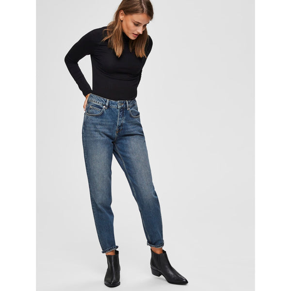 Selected Femme Frida HW Mom Mid Blue Jeans 16063290