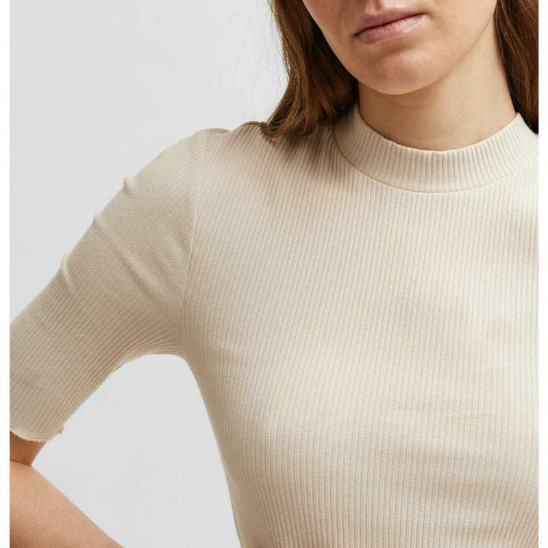 Selected Femme Organic Cotton Sandshell Rib T-Shirt
