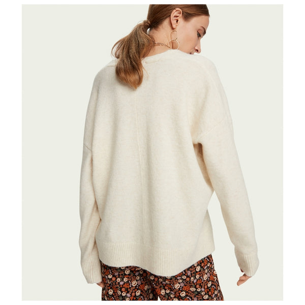 Fuzzy Long Sleeve V-neck Pullover