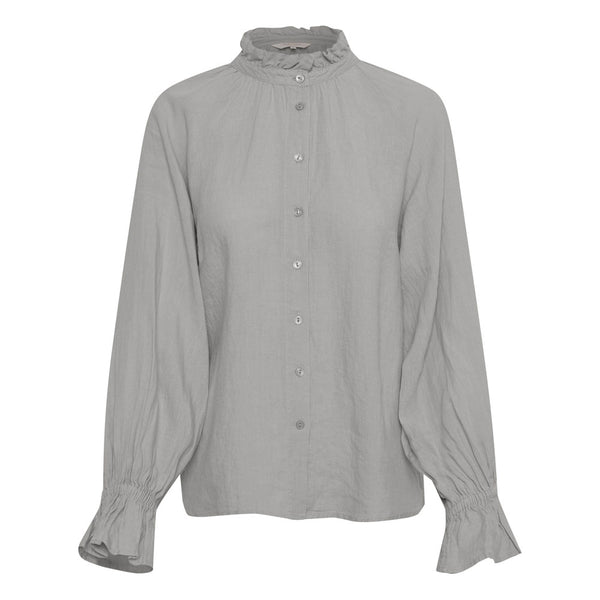 Part Two Grey High Neck Linen Blouse