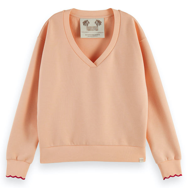 Scotch & Soda: Scalloped Cuffs V-Neck Sweater: soft peach