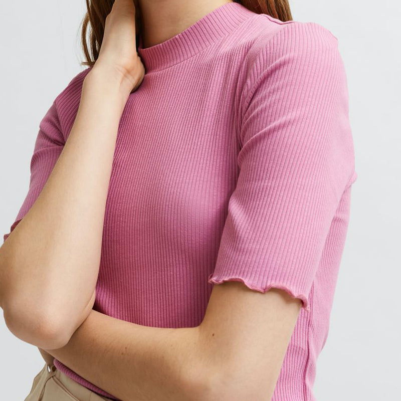 Selected Femme Organic Cotton Pink Rib T-Shirt