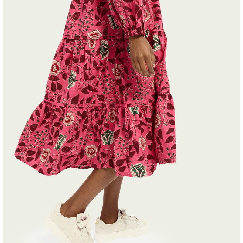 Scotch & Soda Long Sleeve Floral Print Voluminous Midi Dress