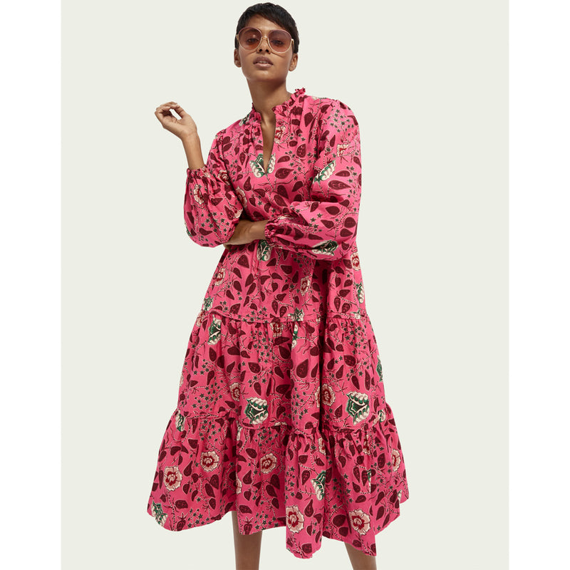 Scotch & Soda Long Sleeve Floral Print Voluminous Midi Dress 158973