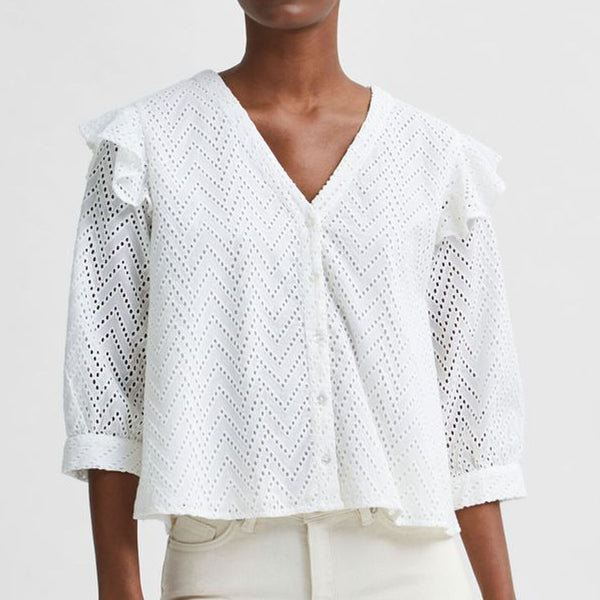 Selected Femme Broderie Anglais Shirt White
