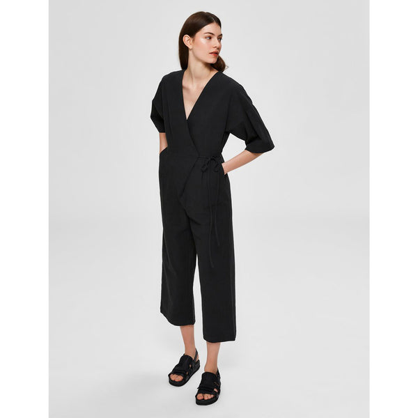 Black Jumpsuit With Cropped Leg