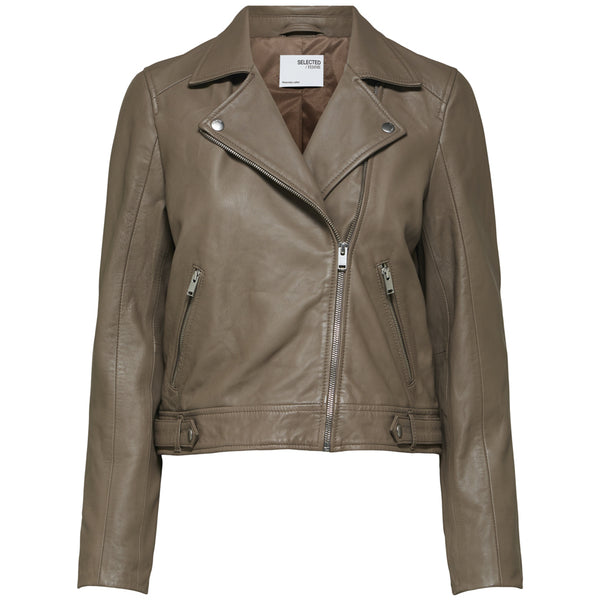 Selected Femme Katie Leather Jacket Grey