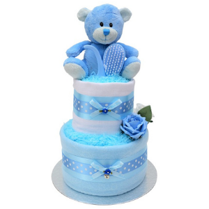 Blue Baby Boys Nappy Cake with Charm - 2 Tier
