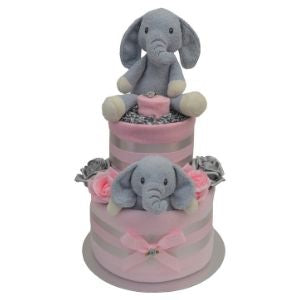 Pink Elephant Nappy Cake for Baby Girl - 2 Tier