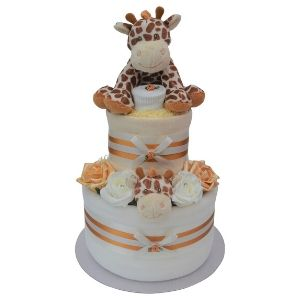 Unisex Gold Giraffe Nappy Cake with Comforter - 2 Tier