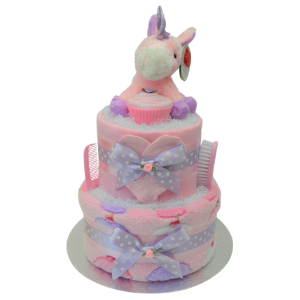 Cupcakes and Unicorns Nappy Cake for Baby Girl - 2 Tier