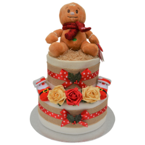 Unisex Gingerbread Man Christmas Nappy Cake - 2 Tier