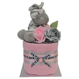 Pink Mini Girls Zebra Nappy Cake