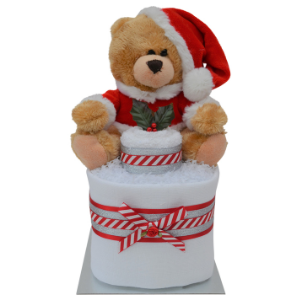 Unisex Mini Christmas Nappy Cake with Santa Teddy Bear