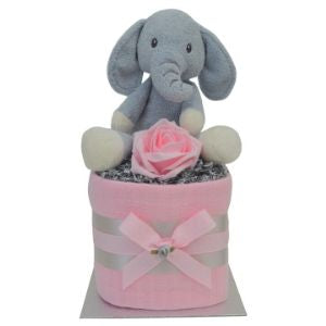 Pink Mini Elephant Nappy Cake for Baby Girl