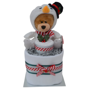 Unisex Mini Christmas Nappy Cake with Snowman Teddy Bear